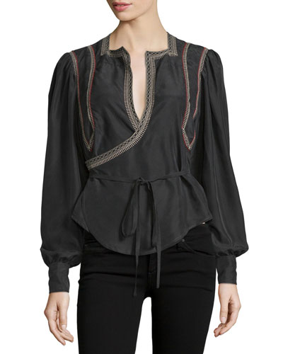Embroidered Long-Sleeve Wrap Top, Black