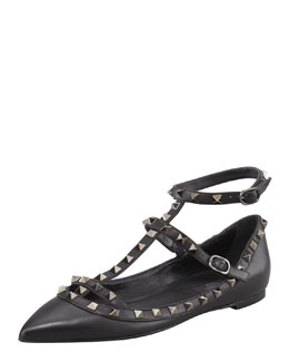 Valentino Noir Rockstud Leather Caged Ballerina