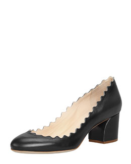 Chloe Scalloped Low-Heel Leather Pump, Black
