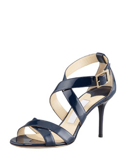 Jimmy Choo Louise Crisscross Patent Leather Sandal, Navy
