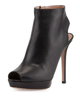 Giorgio Armani Leather Peep-Toe Ankle Bootie, Nero