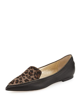 Jimmy Choo Guild Leopard-Print Calf Hair Loafer, Paloma
