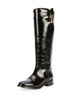 Jimmy Choo Hyson Belted Leather Knee Boot, Black