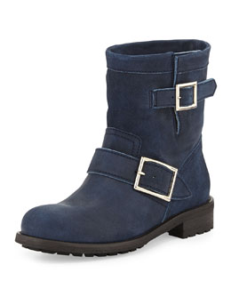 Jimmy Choo Youth Short Suede Biker Boot, Blue Gray