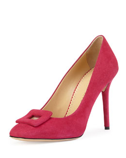 Charlotte Olympia Catherine Suede Square-Buckle Pump, Magenta