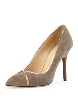 Charlotte Olympia Sheryl Suede & PVC Pump, Gray