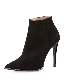 Giorgio Armani Chain-Trim Suede Ankle Boot, Black