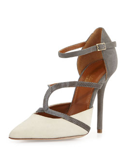Malone Souliers Veronica Suede Ankle-Strap Pump, Ivory/Gray