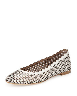 Chloe Perforated Leather Ballerina Flat, White