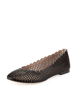Chloe Perforated Leather Ballerina Flat, Black