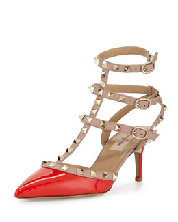 Valentino Rockstud Leather Mid-Heel Pump, Deep Orange