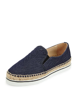 Jimmy Choo Dawn Zebra-Embossed Denim Espadrille