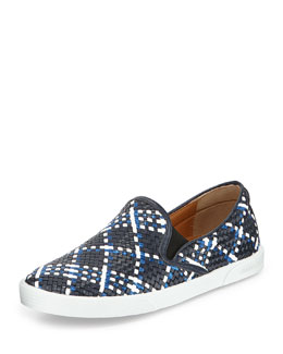 Jimmy Choo Demi Woven Leather Slip-On Sneaker, Navy Mix