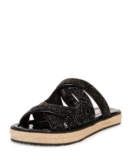 Jimmy Choo Nile Crystal Espadrille Slide, Black