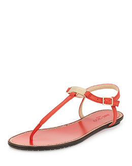 Jimmy Choo Wave Leather Thong Sandal, Fire