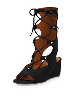 Chloe Suede Gladiator Wedge Sandal, Black