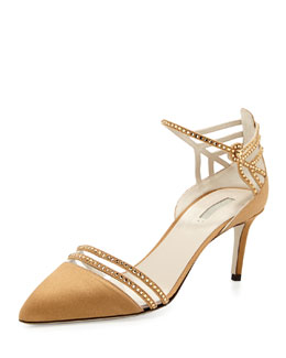 Giorgio Armani Satin & Crystal Point-Toe Sandal, Bronze
