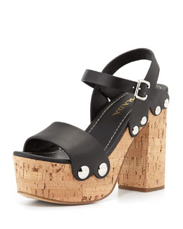Prada Riveted Platform Clog Sandal, Black