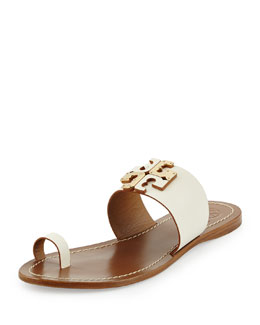 Tory Burch Lowell Leather Logo Sandal, Ivory