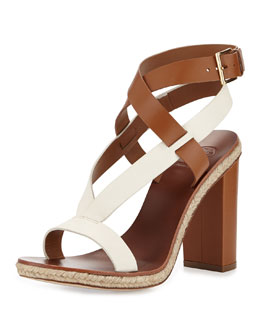 Tory Burch Marbella Leather Sandal, Royal Tan/Ivory