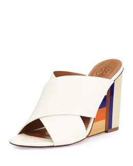 Tory Burch Color Cube Leather Wedge Sandal, Ivory