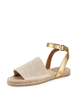 Tory Burch Stretch-Canvas Espadrille Sandal, Natural/Gold