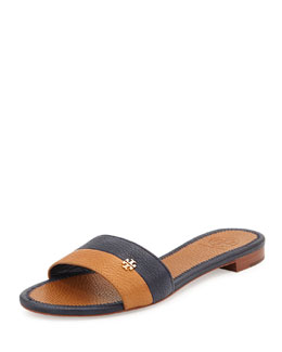 Tory Burch Bicolor Flat Logo Sandal, Tory Navy/Royal