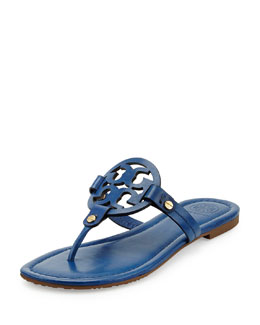 Tory Burch Miller Leather Logo Thong Sandal, Greek Blue