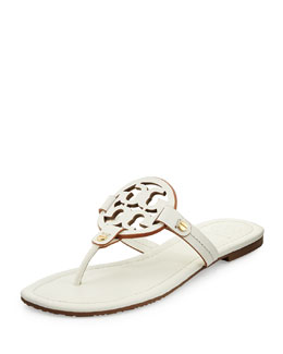 Tory Burch Miller Leather Logo Thong Sandal, Ivory