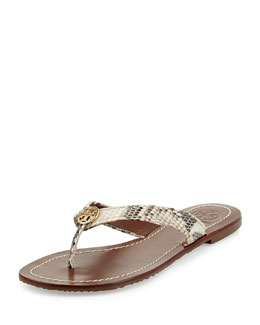 Tory Burch Thora Snake-Print Logo Thong Sandal, Natural Gold