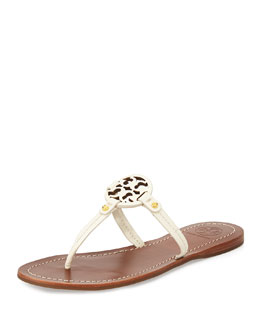 Tory Burch Mini Miller Leather Flat Thong Sandal, Ivory