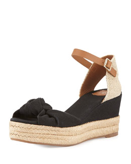 Tory Burch Knotted Bow Wedge Sandal, Black/Royal Tan