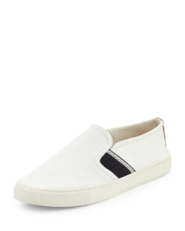 Tory Burch Canvas Stripe Slip-On Sneaker, Ivory/Royal