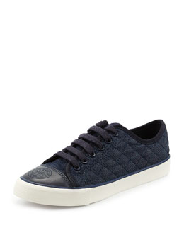 Tory Burch Quilted Denim Lace-Up Sneaker