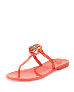 Tory Burch Mini Miller Jelly Thong Sandal, Poppy Coral
