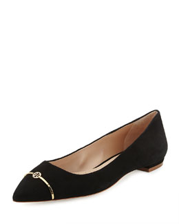 Tory Burch Suede Point-Toe Bar Logo Flat, Black