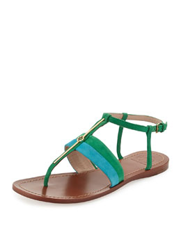 Tory Burch Suede Logo Bar Thong Sandal, Bermuda Teal/Emerald