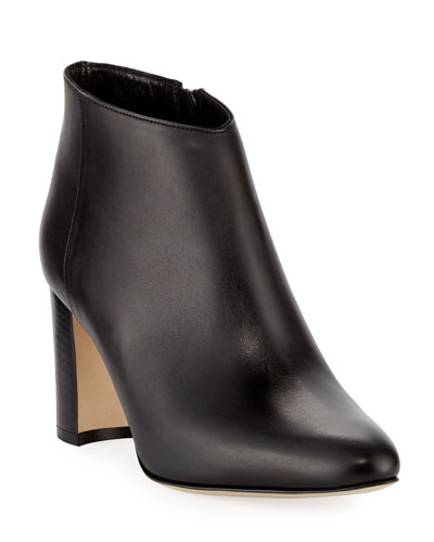 Brusta Leather Stack-Heel Bootie