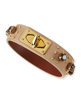 Givenchy Suede & Crystal Turn-Lock Bracelet