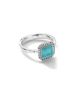 Ippolita Sterling Silver Stella Square Turquoise Ring with Diamonds