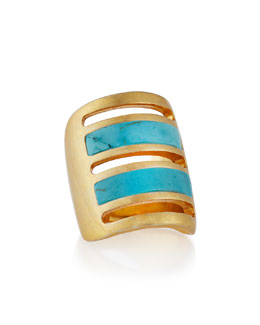 Pamela Love Irissa Gold-Plated Turquoise Path Ring