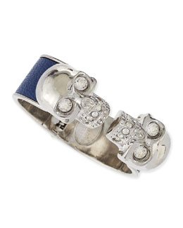 Alexander McQueen Leather Double Skull Cuff, Blue