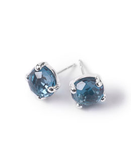 Ippolita Silver Rock Candy Mini Stud Earrings, London Blue Topaz
