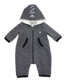Armani Junior Hooded Logo Melange Playsuit, Black/Gray, Sizes 3-12 Months