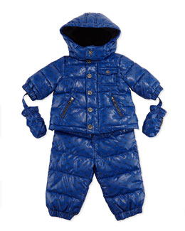 Armani Junior Allover Logo Print Two-Piece Snow Suit, Light Blue, Sizes 3-24 Months