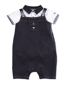 Armani Junior Playsuit & Overalls 2-Piece Gift Set, Indigo, Size 1-12 Months