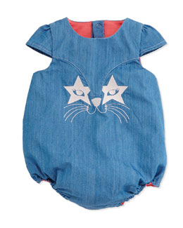 Little Marc Jacobs Embroidered Chambray Bubble Playsuit, Denim Blue, Size 3-18 Months
