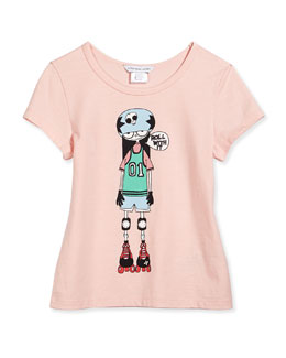 Little Marc Jacobs Roller Skate Printed Tee, Pink, Size 2-12