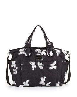 MARC by Marc Jacobs Pretty Nylon Painted Flower Diaper Bag, Black Multi