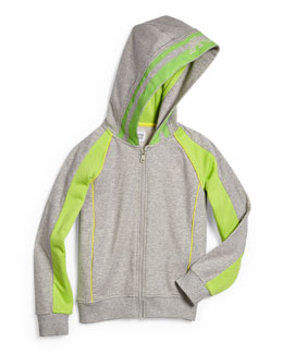 Armani Junior Hooded Contrast-Trim Track Jacket, Gray/Green, Size 2-8